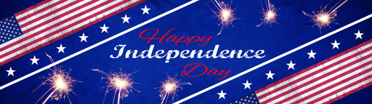 Happy Independence Day (4th of July) background banner panorama - American flag and sparkler firework on blue texture
