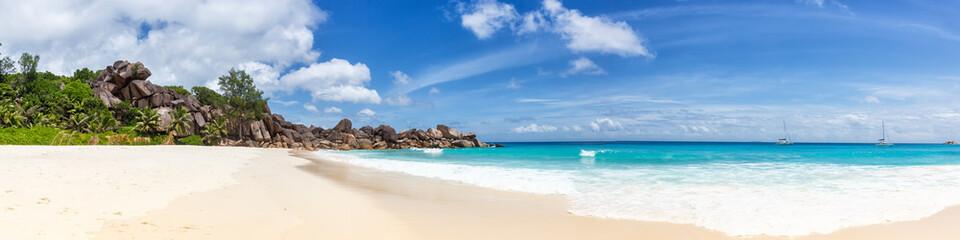 Foto auf Acrylglas Panoramafotos Seychelles Grand Anse beach La Digue island panoramic panorama view vacation holidays travel traveling