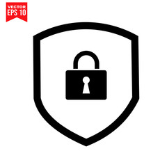 Security shield ob pad lock, key shield Icon symbol Flat vector illustration for graphic and