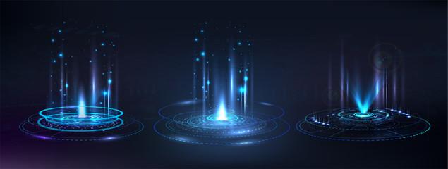 Fototapeta Portal and hologram futuristic circle elements. Sky-fi digital hi-tech collection in HUD style. Magic circle teleport podium.  GUI, UI virtual reality projector. Abstract hologram technology. Vector obraz