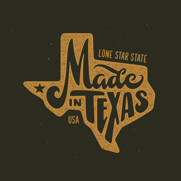 Texas related t-shirt design. Vintage vector illustration.