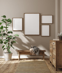 Wall Mural - Mockup frame in farmhouse living room interior, 3d render