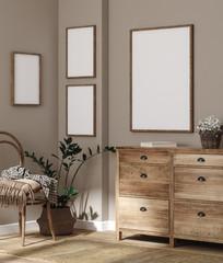 Fototapete - Mockup frame in farmhouse living room interior, 3d render