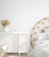 Fototapete - White cozy coastal bedroom interior, 3d render