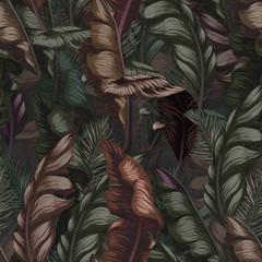 Seamless tropical flower, plant and leaf pattern background, retro botanical style. Stylish flowers - 343637358
