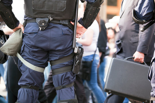 Midsection Of Policeman