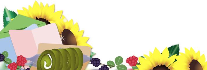 父の日のプレゼント抹茶のロールケーキとひまわりの花にメッセージカードのイラストバナー素材