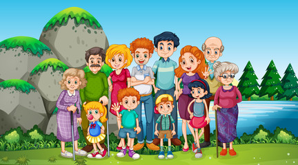 Wall Mural - Happy family at the park