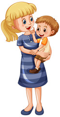 Garden Poster Kids Mother and son cartoon character