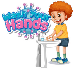 Wash your hands poster design with boy washing hands