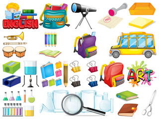Large set of school items on white background