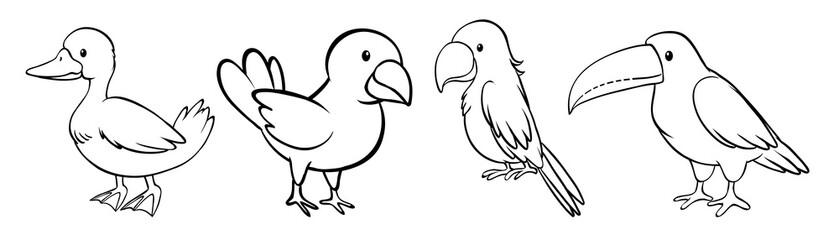 Set of bird outline Fototapete