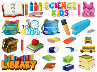 Foto op Aluminium Kids Large set of school items on white background