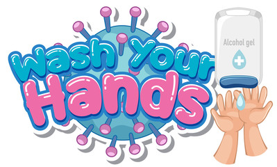 Aluminium Prints Kids Wash your hands poster design with alcohol gel and hands