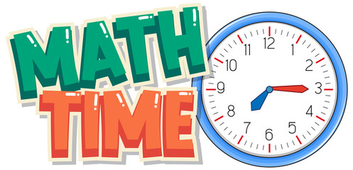 Font design for word math time with big clock in background