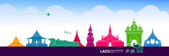 Fotomurales - Laos travel destination grand vector illustration.