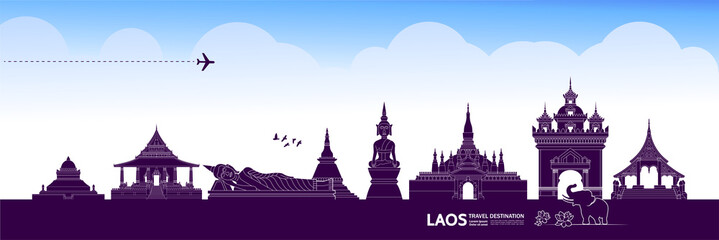 Wall Mural - Laos travel destination grand vector illustration.
