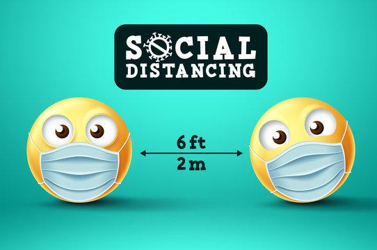 Social Distancing smiley emoji vector sign. Emoji or emoticon with face mask in public social distancing for covid-19 preventive measure. Vector illustration.