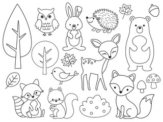Fototapete - Vector line set of Woodland Animals. Animal outline for coloring including bear, deer, fox, rabbit, raccoon, squirrel, hedgehog, owl, bird.
