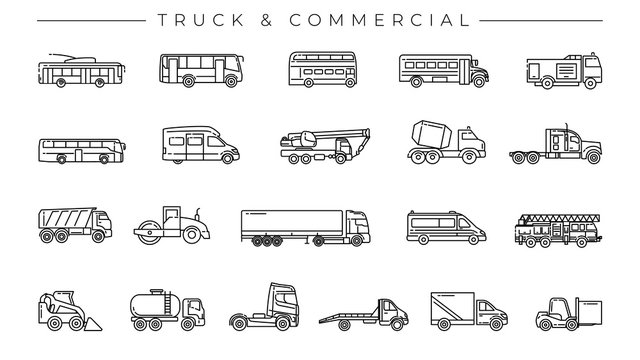 Truck and Commercial concept line style vector icons set.