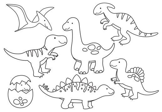 Vector line set of Dinosaurs. Dinosaur outline for coloring including Stegosaurus, Brontosaurus, Velociraptor, Triceratops, Tyrannosaurus rex, Spinosaurus.