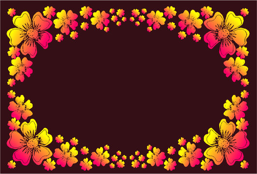 flower and leaf print and embroidery graphic design vector art