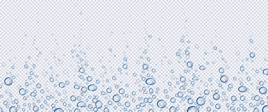 Air bubbles, effervescent water fizz border. Dynamic aqua motion, randomly moving underwater fizzing, soda drink frame design on transparent background, Realistic blue 3d vector illustration