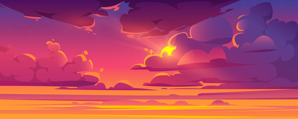 Papiers peints Prune Sunset sky with sun peek out of fluffy clouds. Beautiful nature landscape background, pink, orange and lilac cloudscape evening or morning view with shining Sol and stars. Cartoon vector illustration