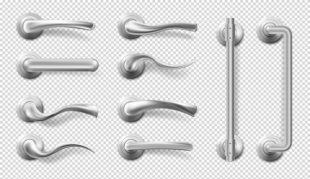 Metal door handles for room interior in office or home. Vector realistic set of modern chrome lever handles in different shapes and long door pulls isolated on transparent background