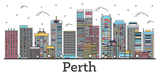 Wall Mural - Outline Perth Australia City Skyline with Color Buildings Isolated on White.