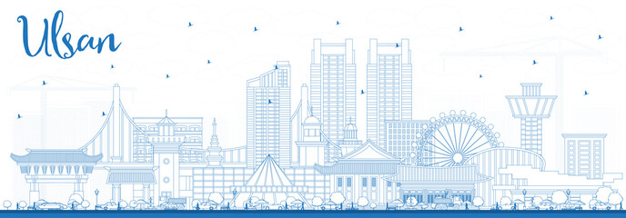 Wall Mural - Outline Ulsan South Korea City Skyline with Blue Buildings.