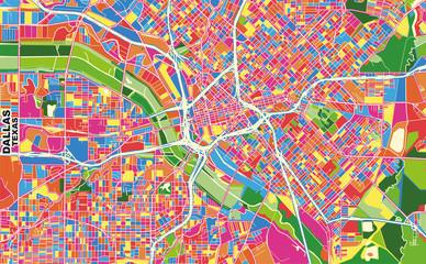 Dallas, Texas, U.S.A., colorful vector map
