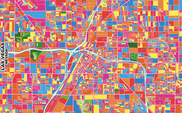 Las Vegas, Nevada, U.S.A., colorful vector map