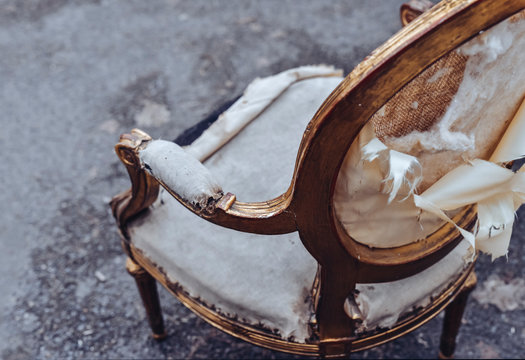 damaged antique baroque style chair ready for restoration