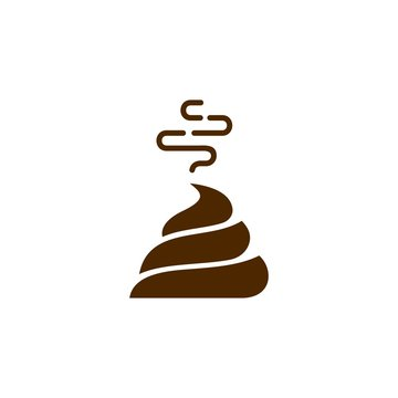 Bunch of brown shit icon in trendy line style. vector image. Stinky Dog Poop logo symbol sign. Cartoon style poo. Vector illustration image. chocolate cream Isolated on white background.