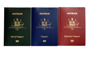 Zelfklevend Fotobehang Struisvogel Combination of different multicolored biometric passports of Australia