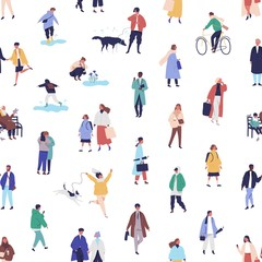 Colorful seamless pattern with different people walking on the street. Men, women, children outdoors. Modern spring background with tiny people. Vector illustration in flat cartoon style