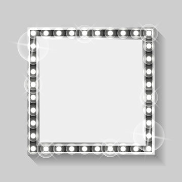 Blank frame with silver lights and bulbs vector, isolated banner with copy scape to fill. Square shape of borders, grey shining and glowing flat style