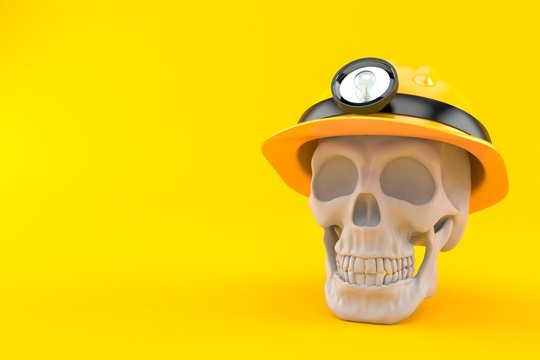 Skull with miner hat