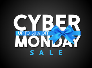 Wall Mural - Cyber monday sale design template. Decorative blue bow with text on black background. Vector illustration.