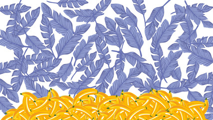 Wall Mural - Blue palm leaves yellow banana white background