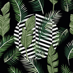 Wall Mural - Green leaves seamless black background