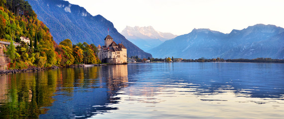 view of famous Chateau de Chillon at Lake Geneva one of Switzerland's. Wall mural