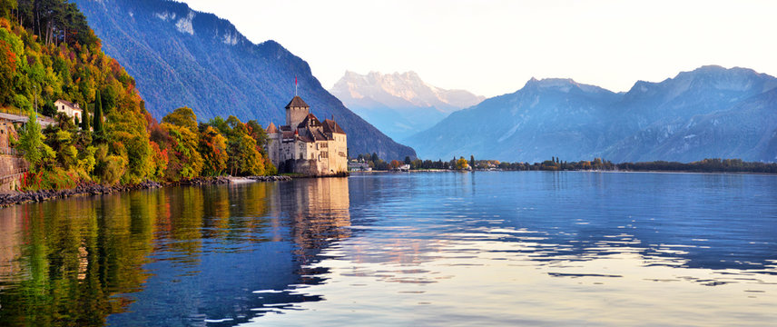 view of famous Chateau de Chillon at Lake Geneva one of Switzerland's.