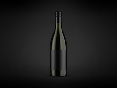 Wine bottle mock-up on dark background. Good use for your design, advertising and presentation. Mock up drink with place for lable and text. Branding and packaging template.