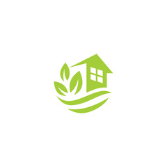 green leaves eco home, vector logo design template