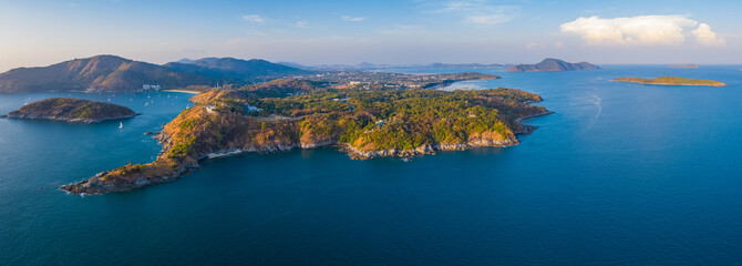 Wall Mural - Aerial panorama of the Promthep cape - southernmost tip of the island of Phuket, Thailand