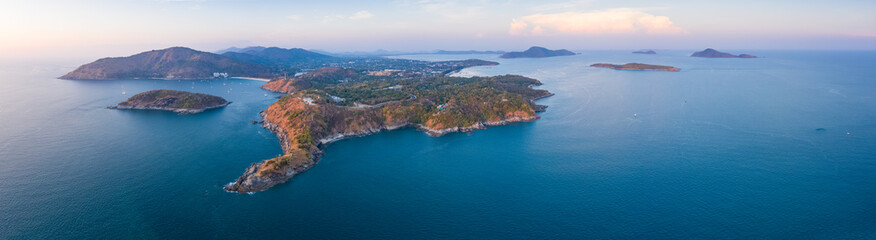 Wall Mural - Aerial panorama of the southernmost tip of the island of Phuket - Promthep Cape, Thailand