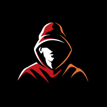Mysterious man in a hood on a dark background. Made on a urban style in the category of underground street art. Can be used for logo, graffiti, print, avatar. Vector graphics
