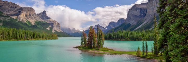 Wall Mural - Panorama of Spirit island in Maligne lake, Jasper National Park, Alberta, Rocky Mountains, Canada